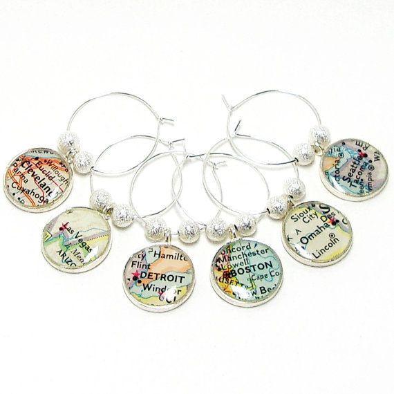 "$24, Brass & Chain. <a href=""https://www.etsy.com/listing/237774957/custom-vintage-map-wine-glass-charms-set?ga_order=mos"
