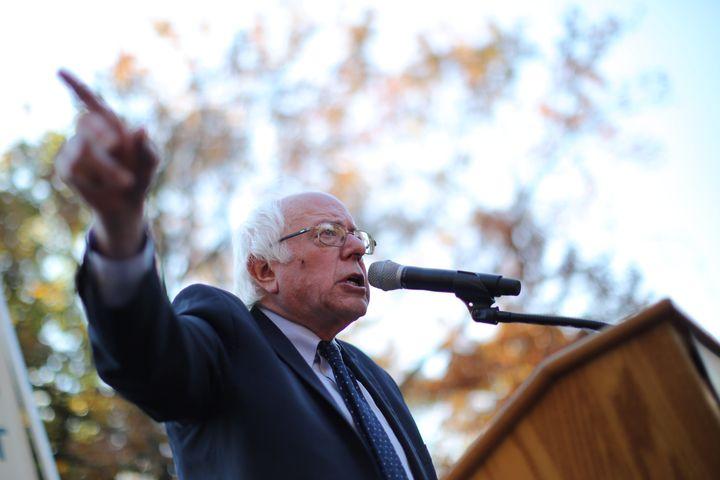"Sen. Bernie Sanders (I-Vt.) spoke at a ""Hands Off Medicare"" press conferenceon Wednesday. He challenged President-elect"