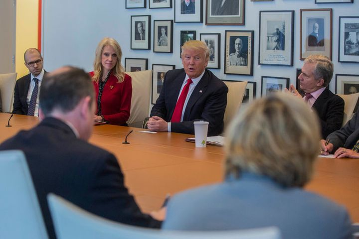 President-elect Trump in a meeting at The New York Times's offices in Manhattan on November 22.