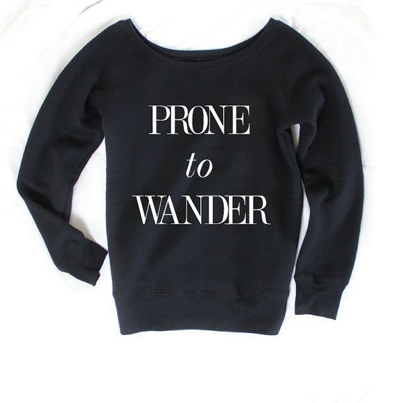 """$40, Arima Designs. <a href=""""https://www.etsy.com/listing/250359621/prone-to-wander-wanderlust-top-graphic-t?ga_order=most_re"""