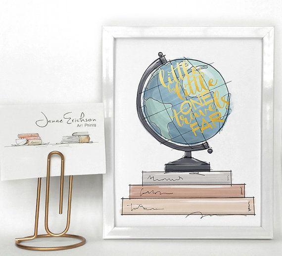 "$12, Janae Erickson Art Prints. <a href=""https://www.etsy.com/listing/400796781/world-globe-and-book-illustration-office?ga_o"