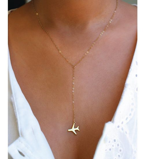 """$37, Charmed Traveler. <a href=""""https://www.etsy.com/listing/268685143/airplane-gold-or-silver-lariat-necklace?ga_order=most_"""