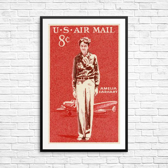 "$6.95, USA Stamp Art. <a href=""https://www.etsy.com/listing/492580623/art-prints-amelia-earhart-pilot-woman?ga_order=most_rel"