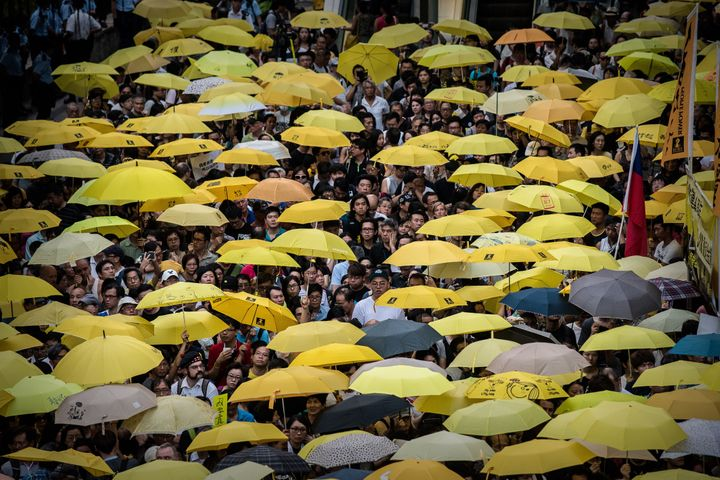 Pro-democracy demonstrators and activists gather outside government headquarters in Hong Kong on Sept. 28, 2015.