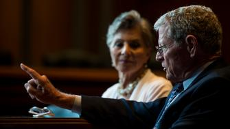 UNITED STATES - JULY 28: Senate Committee on Environment and Public Works ranking member Barbara Boxer, D-Calif, left, and chairman James Inhofe, R-Okla., speak with Roll Call about the Senate's highway bill in the committee's hearing room on Tuesday, July 28, 2015. (Photo By Bill Clark/CQ Roll Call)