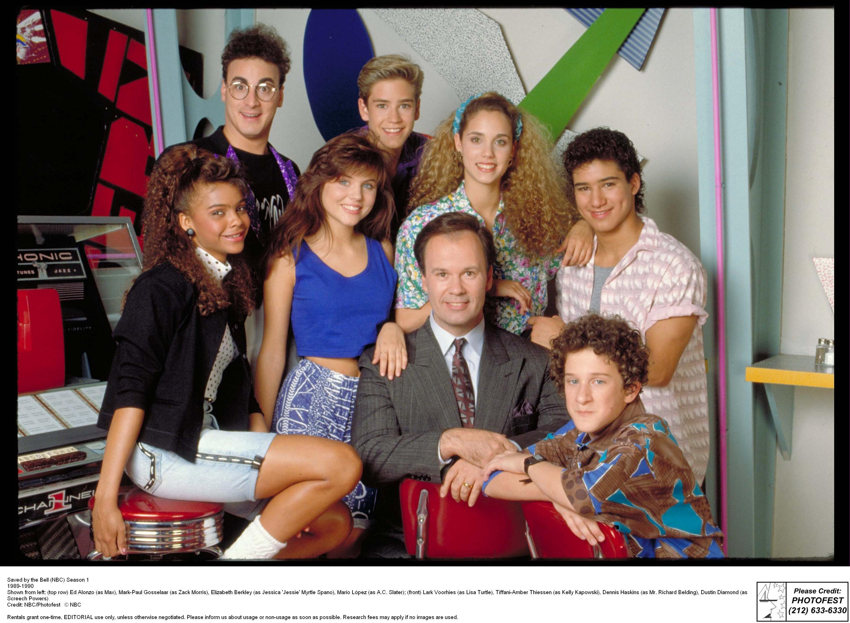 Saved by the Bell (NBC) Season 1 1989-1990 Shown from left: (top row) Ed Alonzo (as Max), Mark-Paul Gosselaar (as Zack Morris), Elizabeth Berkley (as Jessica 'Jessie' Myrtle Spano), Mario L�pez (as A.C. Slater); (front) Lark Voorhies (as Lisa Turtle), Tiffani-Amber Thiessen (as Kelly Kapowski), Dennis Haskins (as Mr. Richard Belding), Dustin Diamond (as Screech Powers)