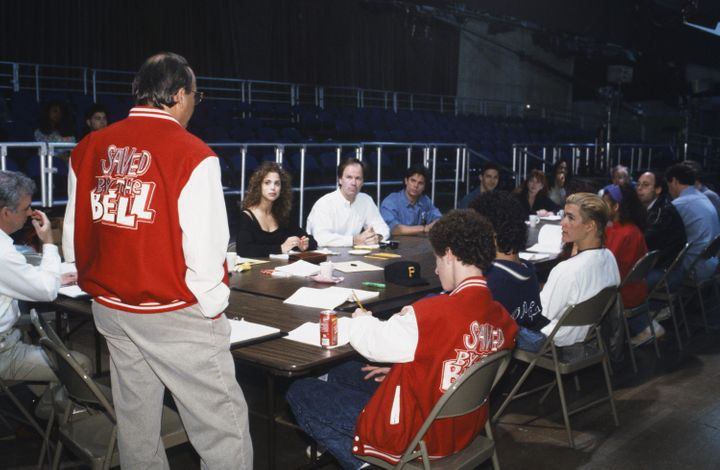 "Dennis Haskins (top, center) attends a table read with the ""Saved By the Bell"" cast."