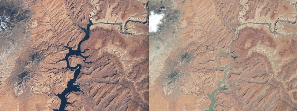Prolonged drought and mismanagement have caused a dramatic drop in Lake Powell's water level. These images show the northern