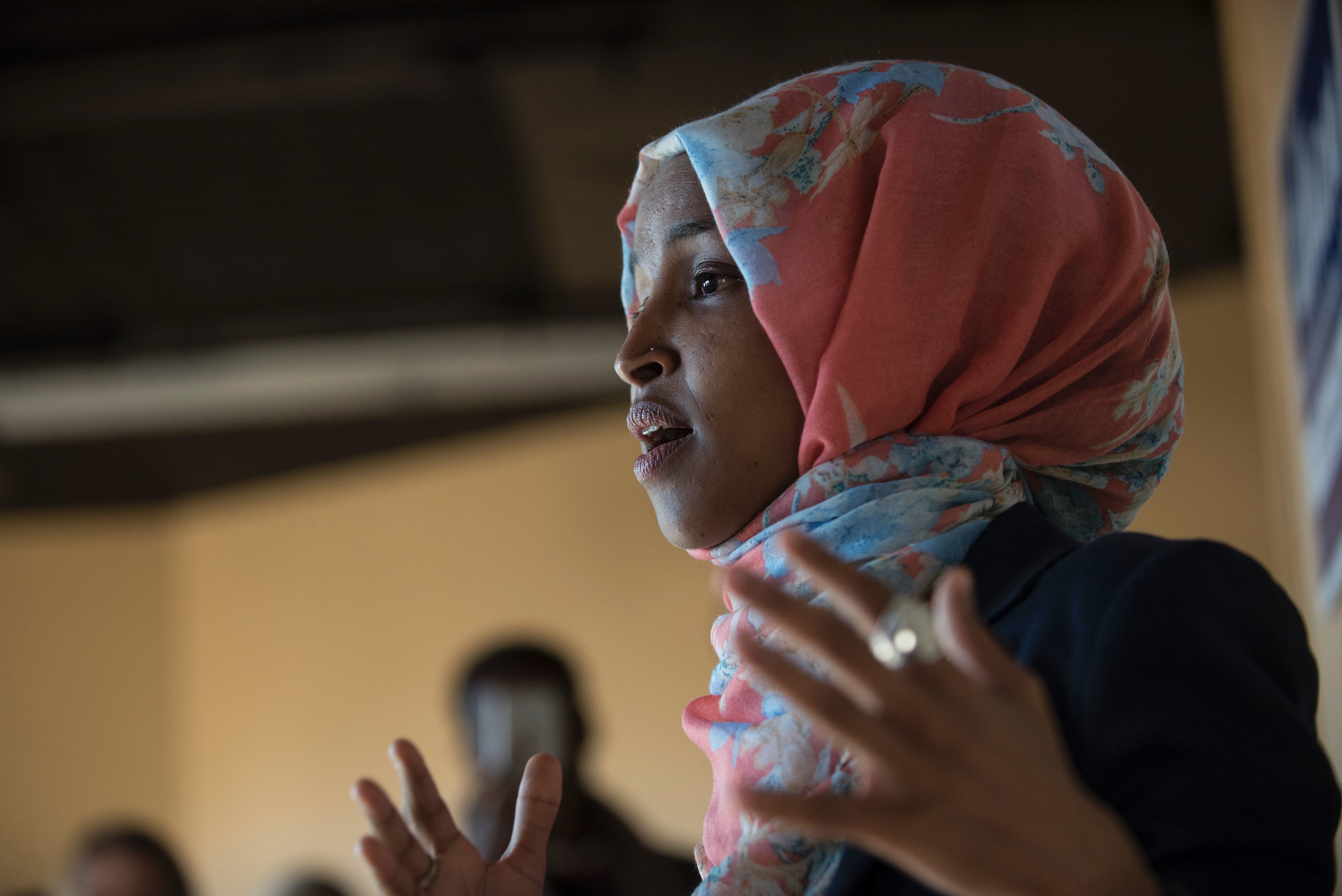 Ilhan Omar, candidate for State Representative for District 60B in Minnesota, speaks to a group of volunteers on Election Day, November 8, 2016 in Minneapolis, Minnesota. Omar, a refugee from Somalia, would be the first Somali-American Muslim woman if elected. / AFP / STEPHEN MATUREN        (Photo credit should read STEPHEN MATUREN/AFP/Getty Images)