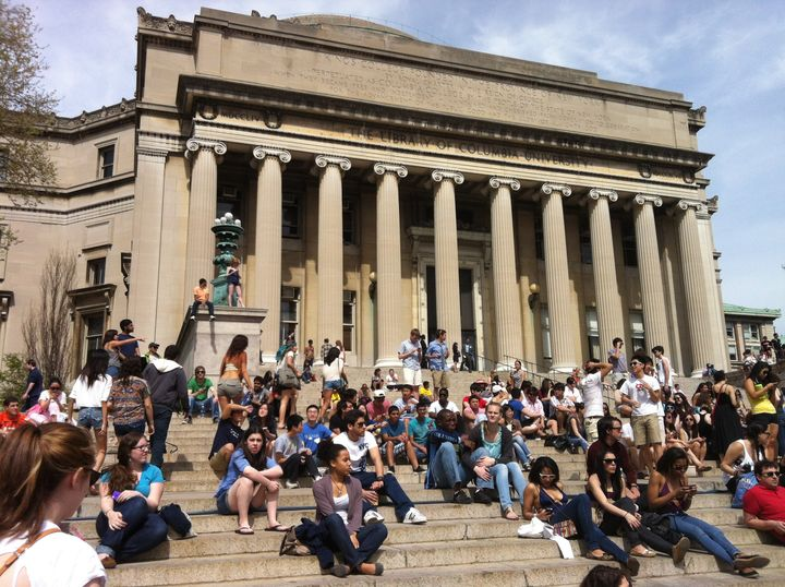 Students—several of whom are Saudi—await class at the Columbia University campus, where I received my degree in journalism.