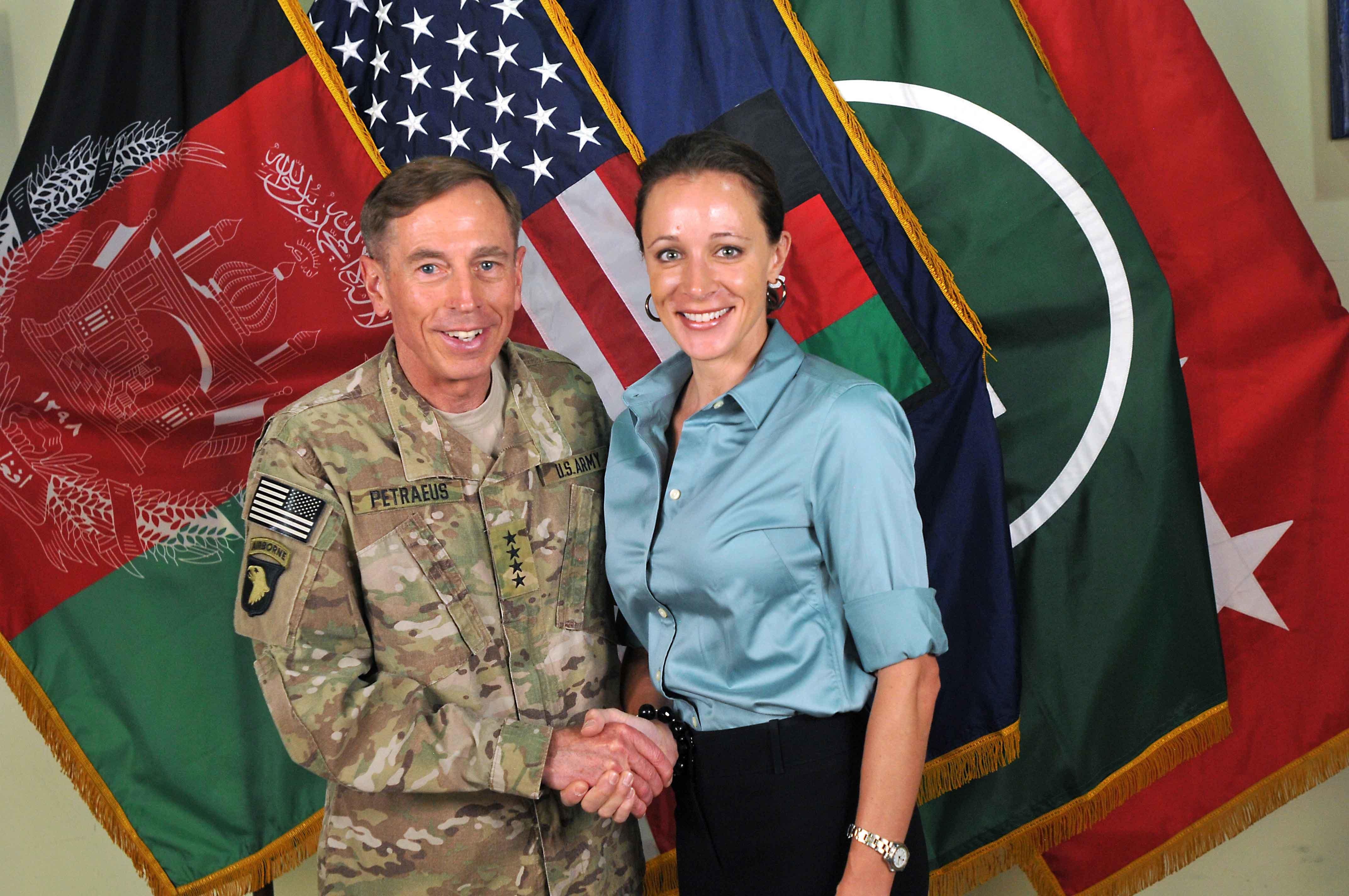 CIA Director Davis Petraeus with biographer Paula Broadwell on July 13, 2011. Petraeus resigned Nov. 9, 2012, citing an extra