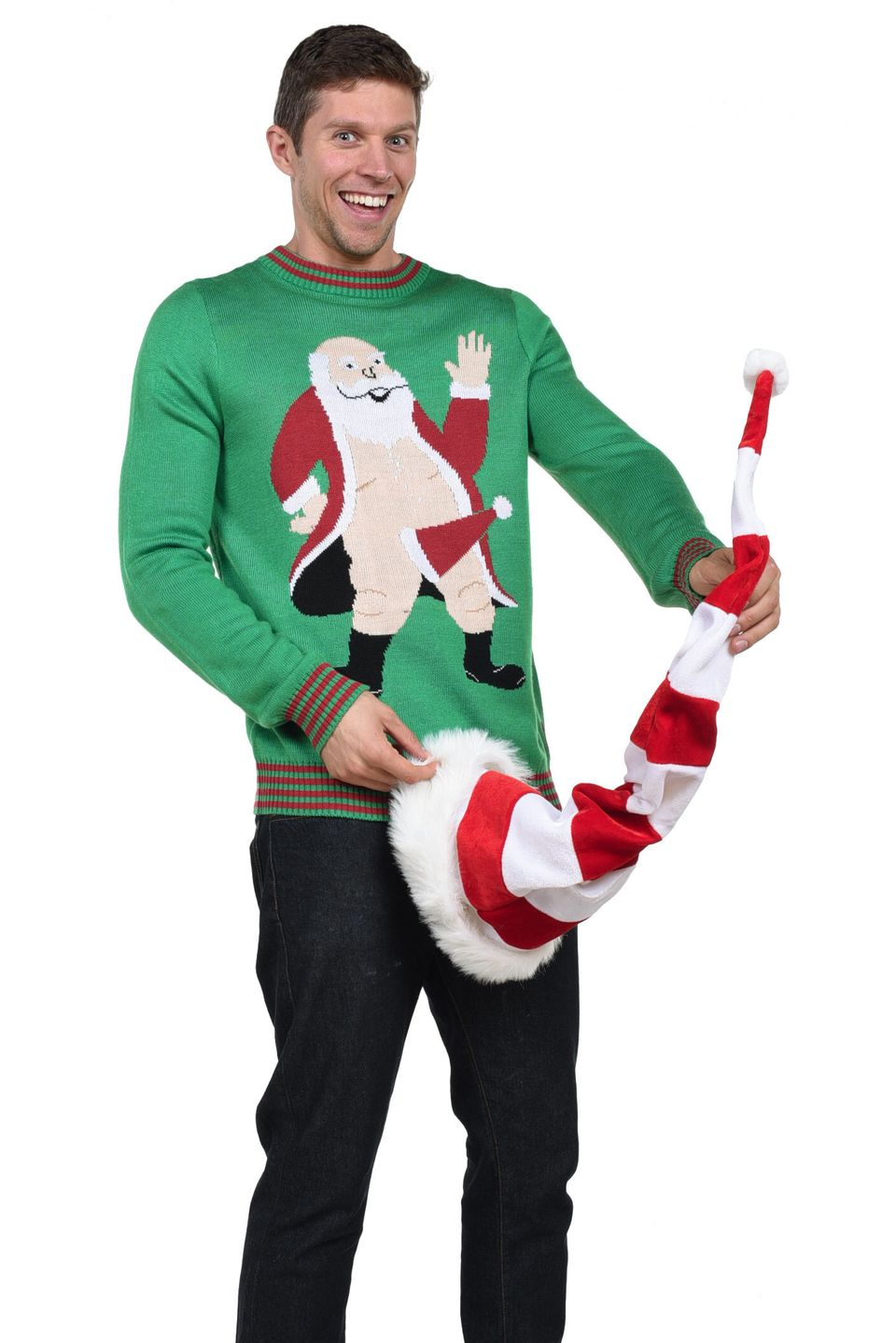"Hats off to whoever designed this tasteful and elegant sweater showing <a href=""http://www.tipsyelves.com/mens-santa-boner-sw"