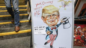 A caricature  of Donald Trump - 'Your Country Needs Me' - on display in Balla Ban Art Gallery, in the Westbury Mall, Central Dublin.  On Wednesday, 7 December 2016, in The Westbury Hotel, Dublin, Ireland. (Photo by Artur Widak/NurPhoto via Getty Images)