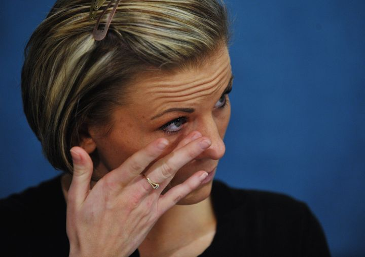 Kori Cioca, former US Coast Guard member and alleged sexual assault victim, at a press conference in 2011. She was featured i