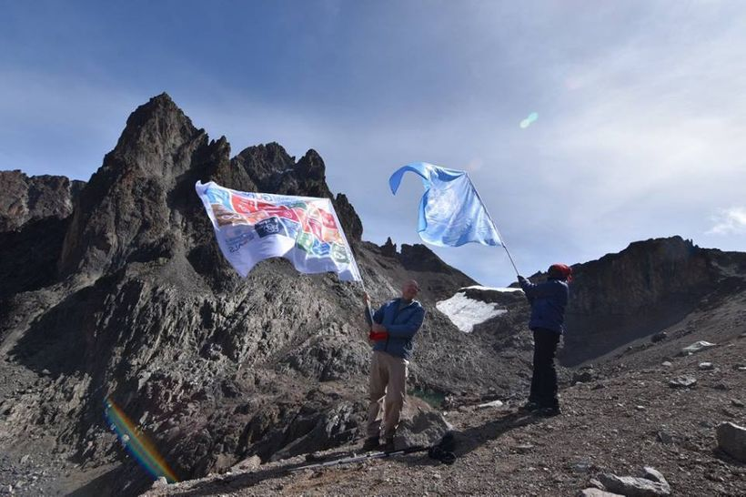 UN Staff from Kenya scale Mount Kenya to highlight the SDGs.