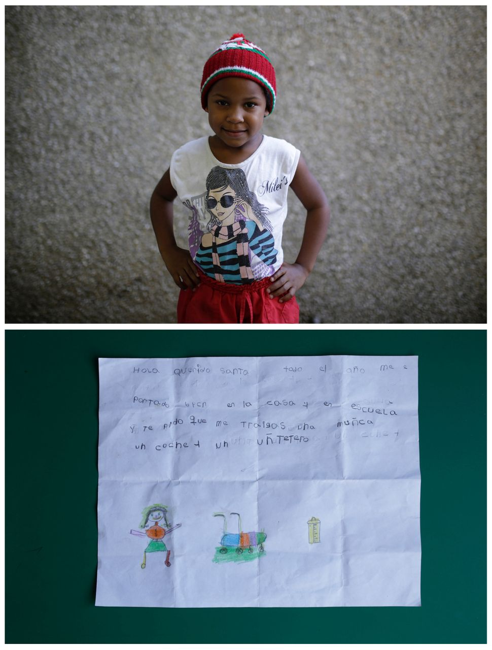 "<strong>Yoselin Ortuno, 5, from Caracas, Venezuela:</strong> ""Hello dear Santa, all year long I have behaved well at hom"