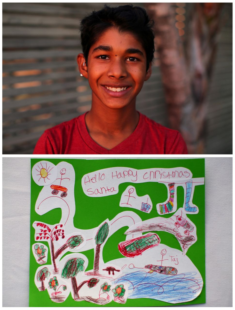<strong>Taj, 10, from Encinitas, United States:</strong> Taj would like fruit trees for his new home and a leaf blo