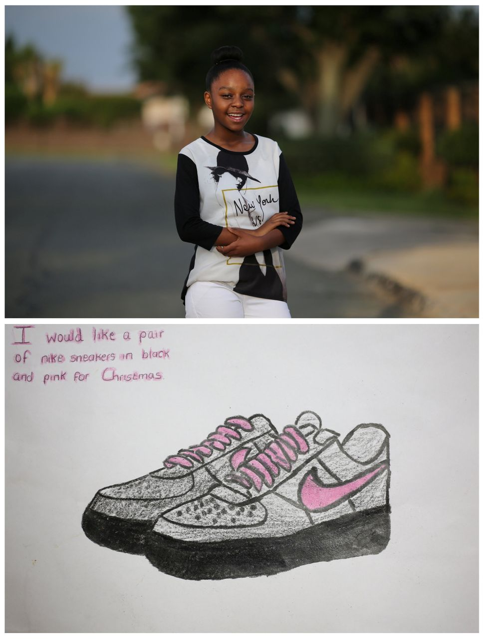 <strong>Palesa Vinger, 12, from Johannesburg, South Africa:</strong> Palesa would love for Santa to give her a pair of Nike s