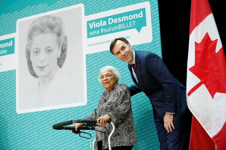Finance Minister Bill Morneau announces on ThursdayViola Desmond will be featured on Canada's next $10 bill. He is pict