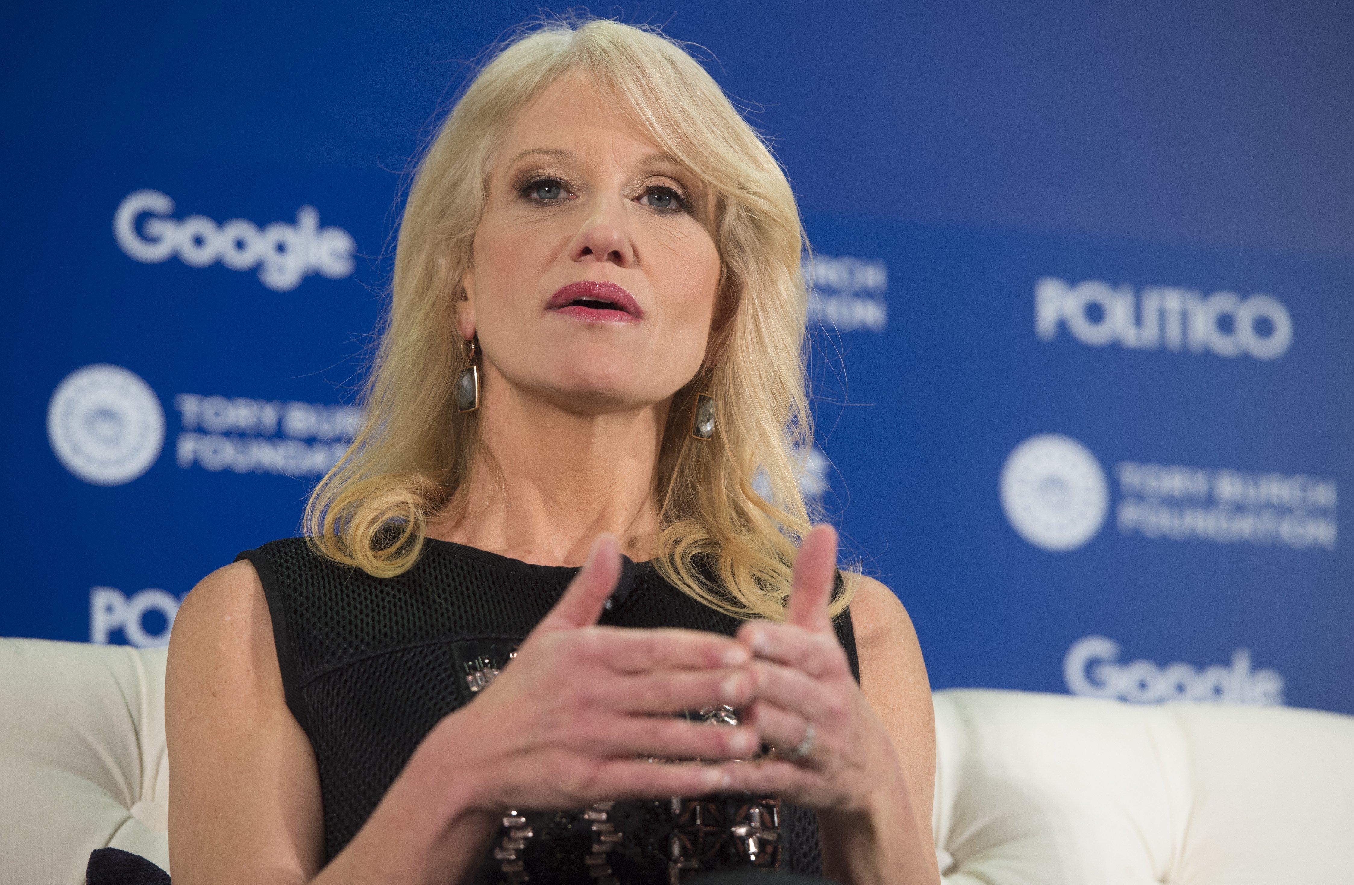 Kellyanne Conway, speaking at Politico's Women Rule Summit in Washington, D.C., on Wednesday.