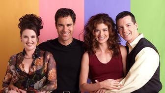 WILL & GRACE -- Season 3 -- Pictured: (l-r) Megan Mullally as Karen Walker, Eric McCormack as Will Truman, Debra Messing as Grace Adler, Sean Hayes as Jack McFarland -- Photo by: Chris Haston/NBCU Photo Bank