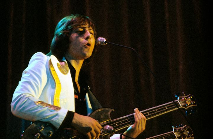 Greg Lake of Emerson Lake & Palmer perform on stage at Forest National on April 1 1974 in Brussels, Belgium.