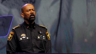 Sheriff David Clark addresses members of the National Rifle Association during their NRA-ILA Leadership Forum at their annual meeting in Louisville, Kentucky, May 20, 2016. REUTERS/John Sommers II