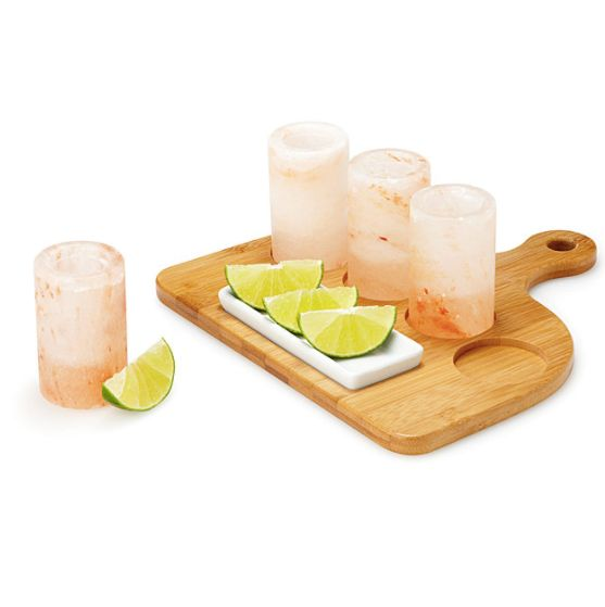 "Himalayan pink salt shot glasses, $28 – $45, <a href=""http://www.uncommongoods.com/product/himalayan-salt-tequila-glass"