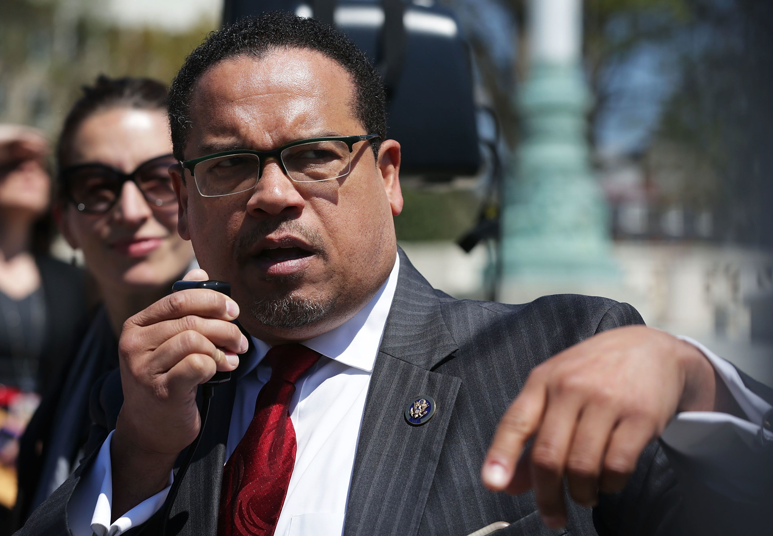 WASHINGTON, UNITED STATES - APRIL 13:  U.S. Rep. Keith Ellison (D-MN) (R) speaks during a news conference in front of the Supreme Court April 13, 2016 in Washington, DC. The Congressional Progressive Caucus held a news conference with federal workers and other groups 'to call on Senate Republicans to do their job and hold a hearing on the Supreme Court nomination of Merrick Garland.'  (Photo by Alex Wong/Getty Images)