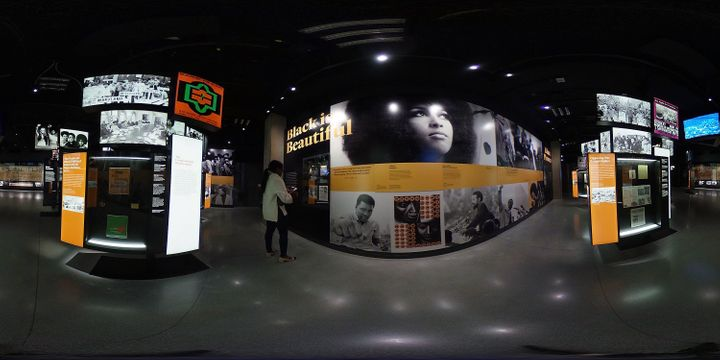 A panoramic view of the exhibits inside The National Museum Of African American History and Culture.