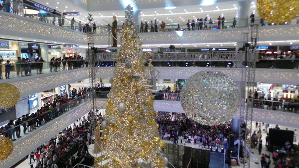 The glamorous thirty feet tall rotating Christmas tree unveiled in Mandaluyong City. The elegant centerpiece Christmas decora