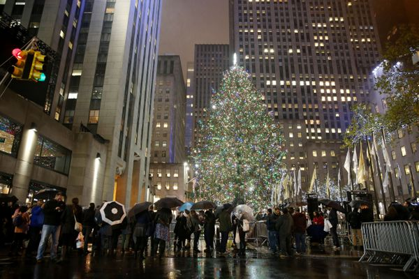 Rockefeller Christmas tree stands lit during the 84th Rockefeller Center Christmas Tree Lighting ceremony at Rockefeller Cent