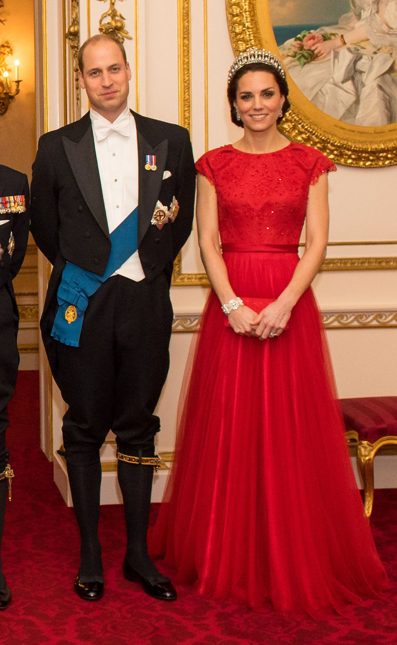 ALTERNATE CROPThe Duke and Duchess of Cambridge arrive for the annual evening reception for members of the Diplomatic Corps at Buckingham Palace, London.