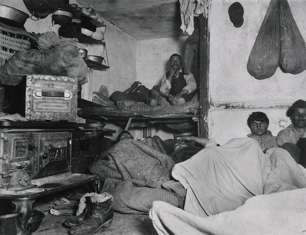 """Jacob Riis, """"Lodgers in a Crowded Bayard Street Tenement – 'Five Cents a Spot,'"""" New York,"""
