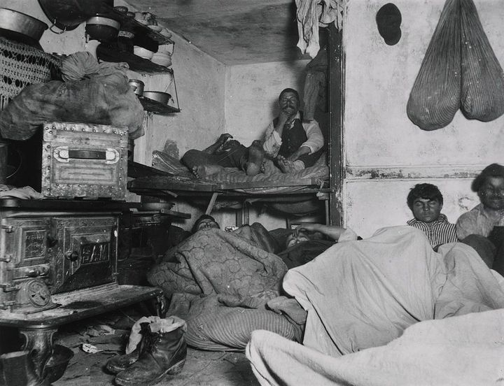 "Jacob Riis, ""Lodgers in a Crowded Bayard Street Tenement – 'Five Cents a Spot,'"" New York, 1889."