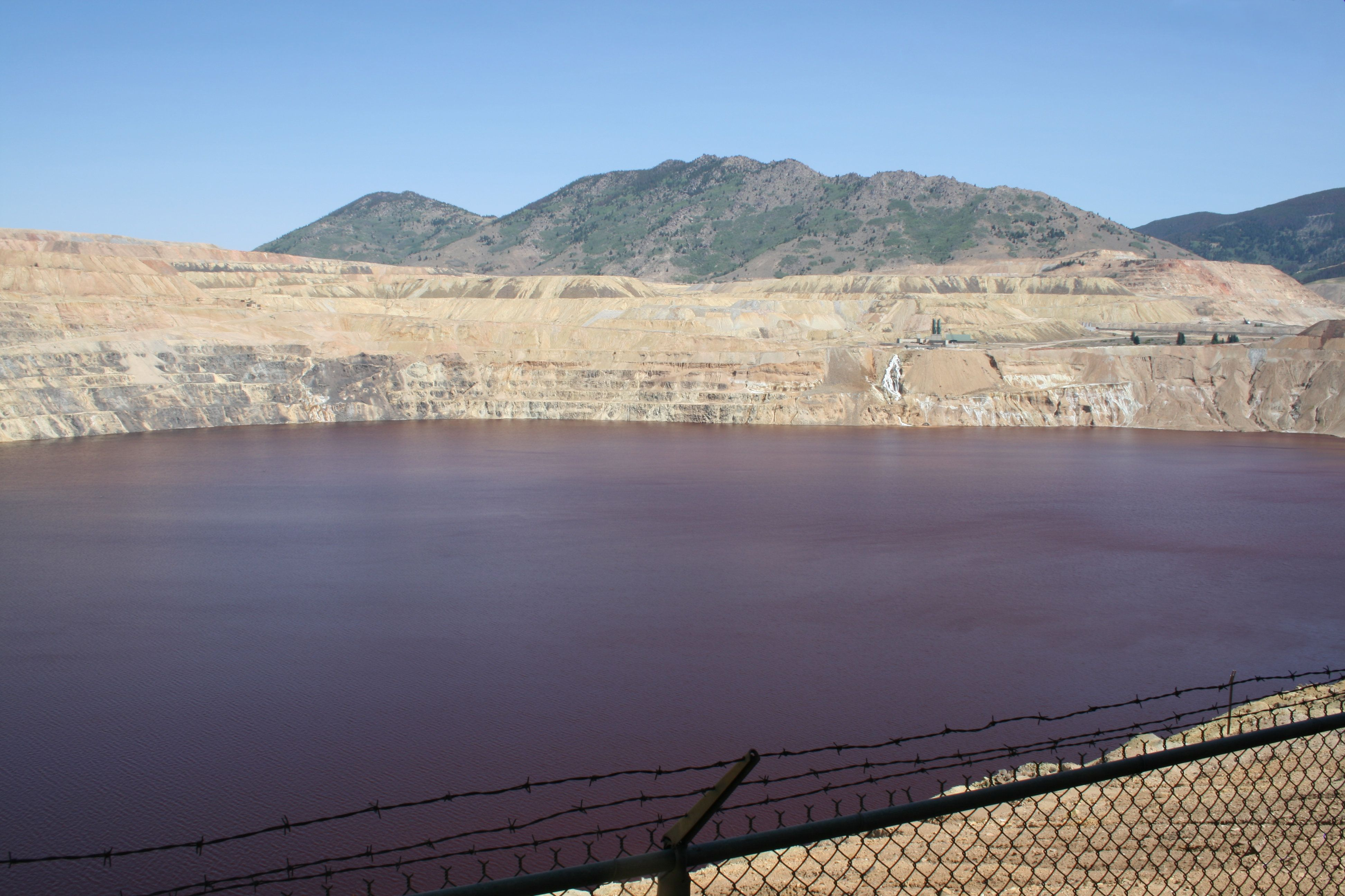 The Berkeley Pit in Butte, MT, was an open pit mine now filled with toxic water.