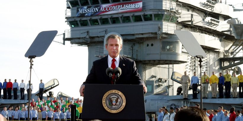 """The famous """"Mission Accomplished"""" speech from May 1, 2003."""