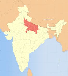 The state of Uttar Pradesh highlighted in red.