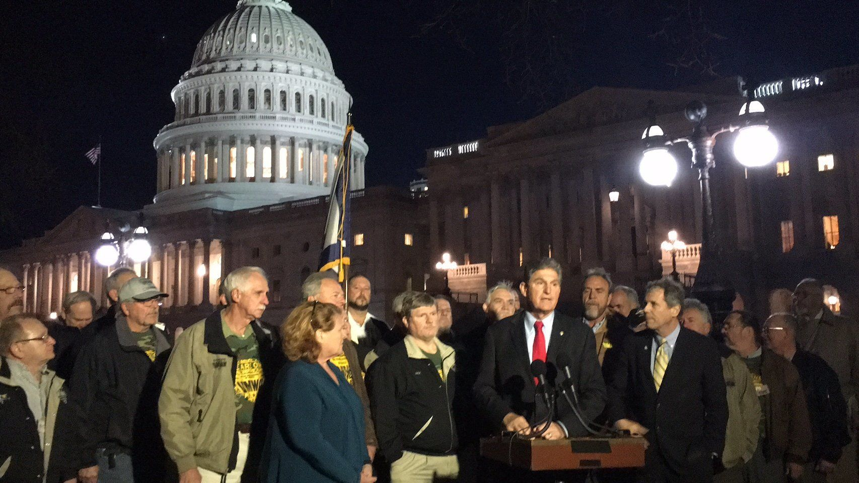 Sen. Joe Manchin (D-W.Va.) joined by United Mine Workers representatives and Sens. Heidi Heitkamp (D-N.D.) and Sherrod Brown