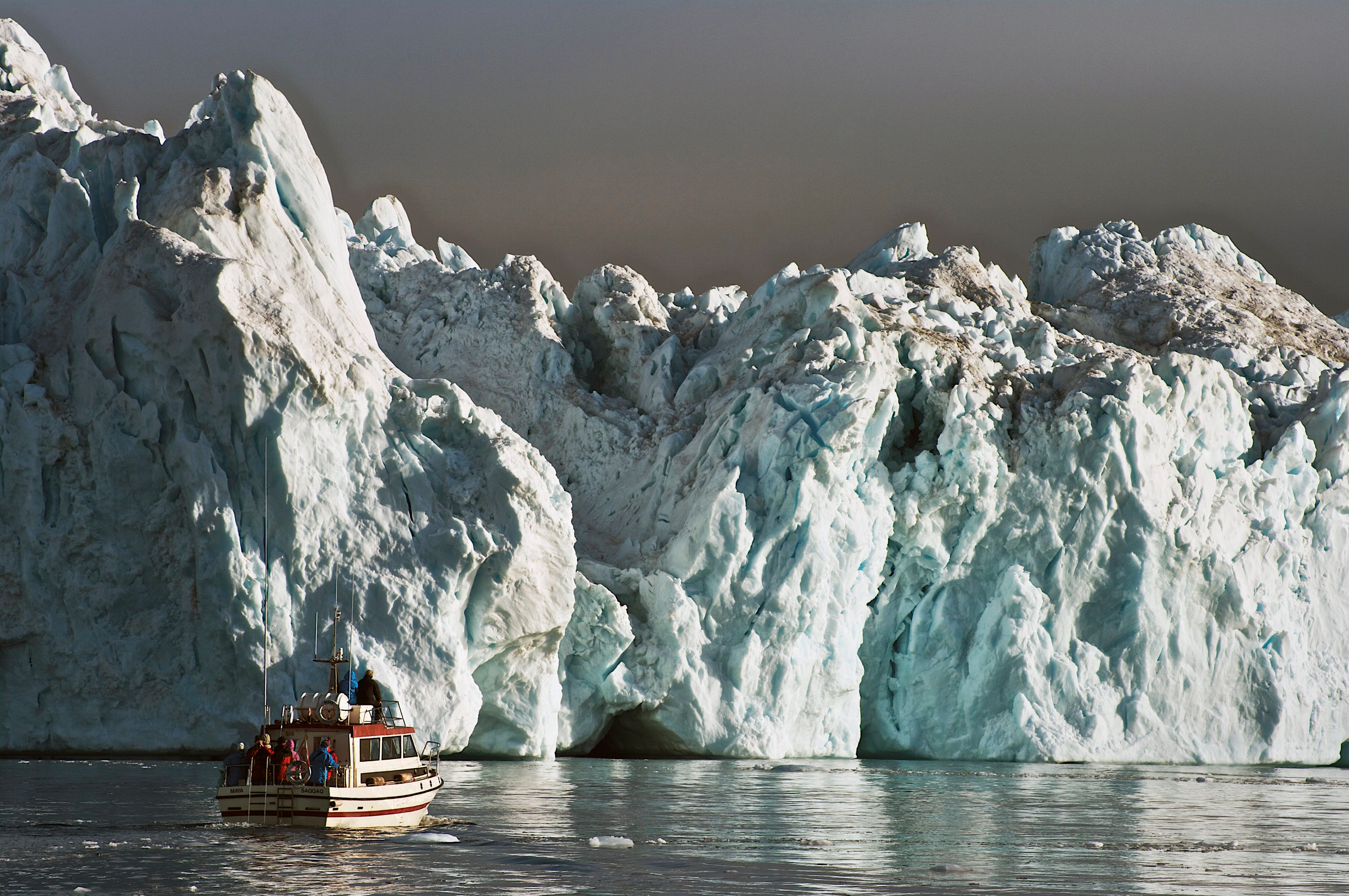 An iceberg detached from the Jakobshavn glacier in western Greenland. New research suggests the island's enormousice sh