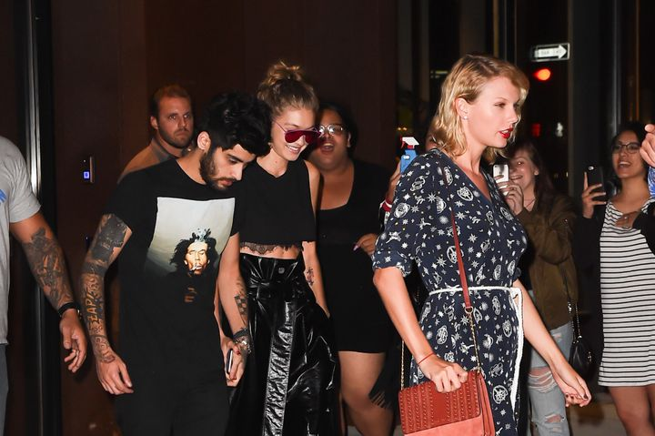 Best buds Zayn Malik, Gigi Hadid and Taylor Swift emerge from Hadid's New York City apartment in September.