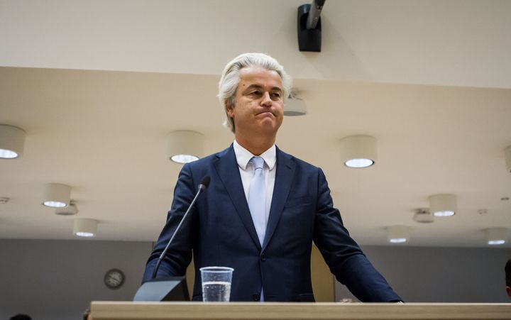 Dutch far-right leader Geert Wilders speaks to the court at the high security court in Schiphol, Netherlands on November 23,