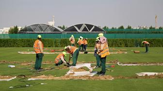 Workers test soil as they grow grass for Qatar's 2022 World Cup, at an experimental facility in Doha, Qatar November 29, 2016. Picture taken November 29, 2016. REUTERS/Naseem Zeitoon