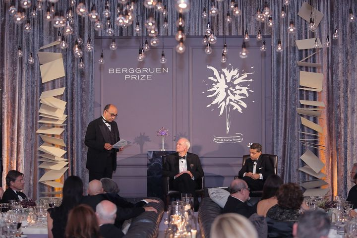 Charles Taylor, center, accepts the Berggruen Philosophy Prize from Kwame Anthony Appiah at the New York Public Library on De