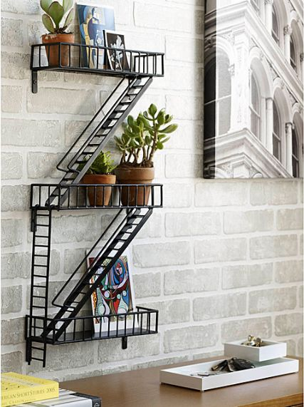 City dwellers will get a kick out of this decorative shelf and its familiar fire escape design. <br><br><strong>Fire Escape S