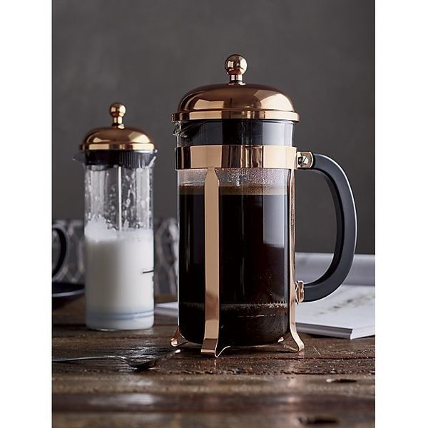 We love this French press for two reasons: It is easy on the eyes and it takes up significantly less space than a bulky drip