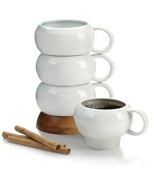 These smart mugs stack up to save space but look like works of art when they're set on a table.<strong> <br><br>Nambé