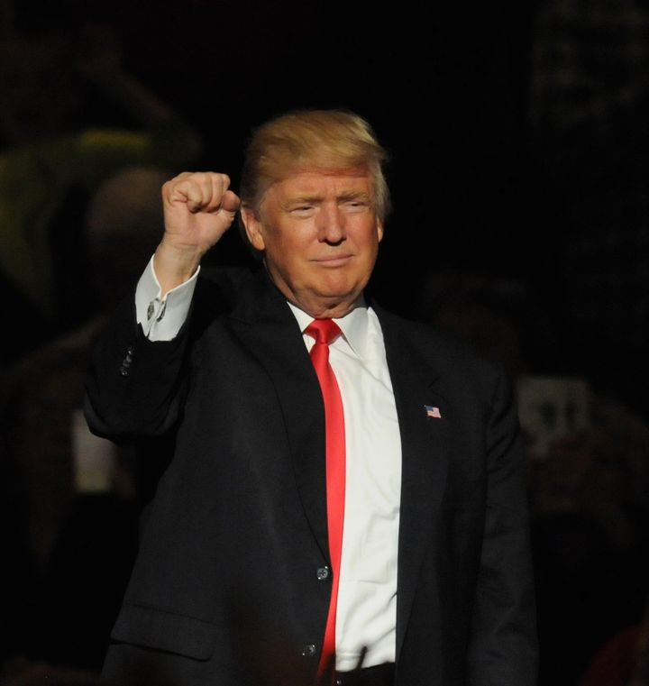 """President-elect Donald Trump speaks at a """"victory tour""""rally on Dec. 8."""