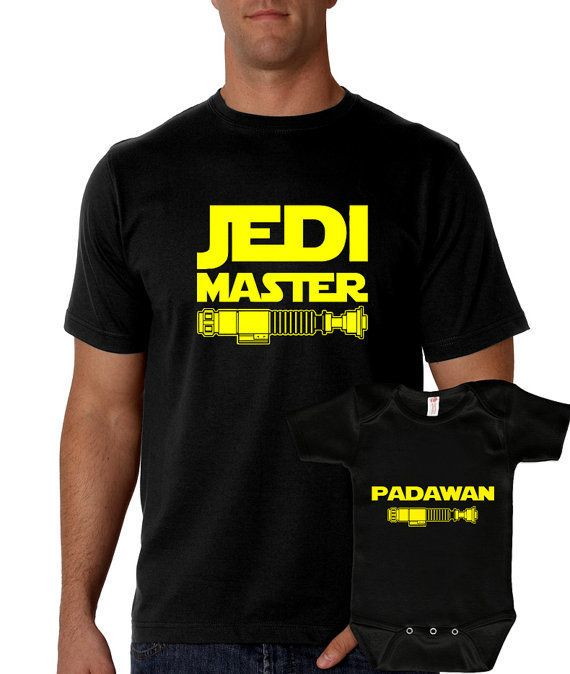 "$37.00 (for both), KB Apparel Shop. <a href=""https://www.etsy.com/listing/477219634/jedi-master-padawan-t-shirts-matching?ga_"