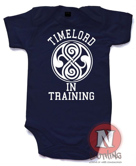 """$9.05, Naughtees Clothing. <a href=""""https://www.etsy.com/listing/218464562/timelord-in-training-baby-suit-onesie?ga_order=mos"""